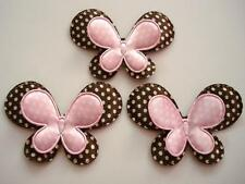 """30 Pink/Brown 2 Layers Big Satin Polka Dot Fabric 2.5"""" Butterfly Applique D11"""