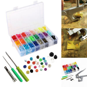 360pcs 24 Colours T5 Plastic Buttons Stubs Fastener KAM Snaps Snap Pliers
