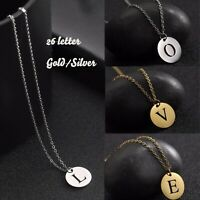 26 Alphabet Silver/Gold Initial Round Letter Charm Necklace Customize Pendant