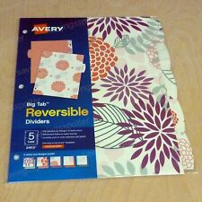 Avery Big Tab Reversible Paper Fashion Dividers 5 Tabs 5 Colors Amp Designs Print