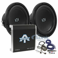 """700W RMS Dual Amplified NVX NSW104v2 10"""" Dual 4 ohm Subwoofer Bass Package"""
