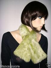 BENETTON COLLO SCALDA COLLO PELLICCIA LAPIN verde Fur collar sciarpa D0031