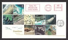 2002 COASTLINES  SET OF 10 ON FDC WITH ST MERRYN PADSTOW CDS AND METER MARK