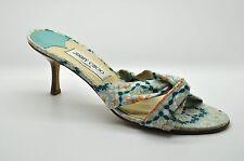 JIMMY CHOO Light Blue Orange Floral Slip On Kitten Heels Shoes - size 40 / 10