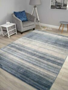 Dark Blue Grey Thin Stripes Rugs Small Extra Large Abstract Floor Carpet Soft UK