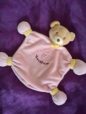 doudou plat ours jaune  Rose fille NOUNOURS Comme Neuf