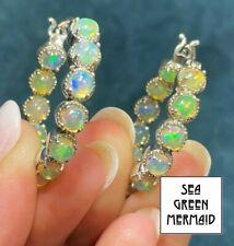 """Ethiopian Welo Jelly Opal """"Inside Out"""" 1"""" 925 Hoop Earrings_ **VIDEO** _21_123"""