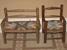 ~Vintage Wood & Cane Rope Doll House Furniture Bench Couch Ladder Back Chair~