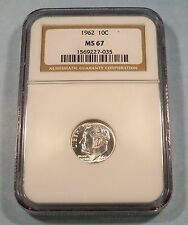 1962 NGC MS67 ROOSEVELT DIME SILVER 10c MS 67