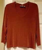 Chico's Travelers Size 2 Acetate/Spandex Women's Pullover Blouse Top Rust Color