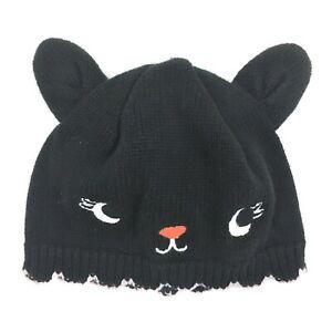Gymboree Infant Girls Black Kitty Cat Knit Hat Cap Beanie Size 3-6M