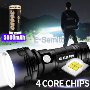 Super-bright 90000lm Flashlight LED P70 Tactical Torch Light USB + 26650 Battery