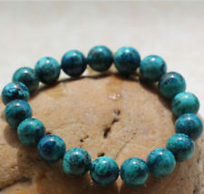 Natural 10mm Blue Chrysocolla Round Gemstone Beads Stretch Bracelet 7.5''