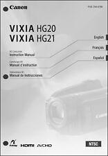 Canon VIXIA HG20 and HG21 Camcorder User Instruction Guide  Manual