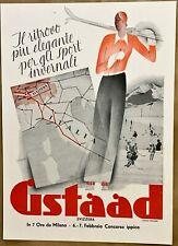 GSTAAD- Svizzera- Suisse -Cartoncino pubblicitario Originale - '40 - Straub -