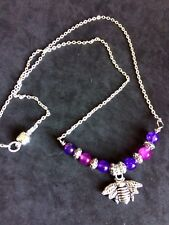 Bee Charm Necklace With Pink, Purple Agate Stone Beads Handcrafted