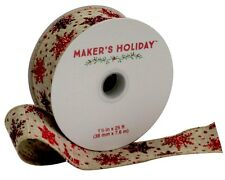 """NEW Ribbon CHOOSE Wired Edge Red White Gold Brn 25'or 30' x 1.5"""" Wide Snowflakes"""