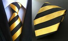 Jaune et noir à rayures fait main Cravate 100% soie