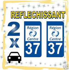 2 stickers REFLECHISSANT département 37 rétro-réfléchissant immatriculation AUTO