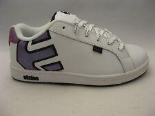 Etnies Girls Fader White Leather Skate Shoes 6 Fuchsia Sparkle Logo Sneakers NEW