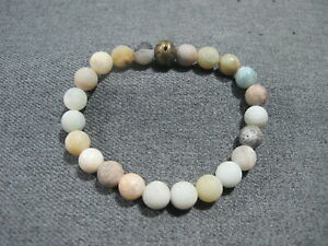 Vintage colors frosted stones and V dotted decor bronze bead  stretch bracelet