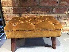 Vintage Mid Century Velvet Button Footstool Mustard Gold Chesterfield Vgc