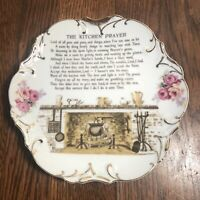 """Vintage 8"""" Hanging Plate THE KITCHEN PRAYER Fireplace Hearth JAPAN"""