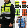 Men Women Hi-VIS Vest Reflective High Visibility Coat Construction Safety Jacket