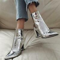 Fashion Gold Silver Patent Leather Women Ankle Boots Pointed Toe High Heel Boots