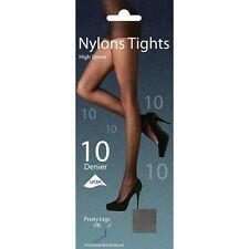 2 Pairs Designer HosIery Black 100/% Sheer Nylon Ladies Tights Size Large C032.S