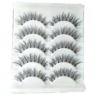 5 Pairs Long Cross False Eyelashes Makeup Natural Fake Thick Eye Lashes Fashion