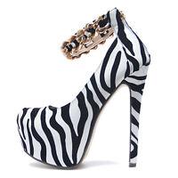 Damen Plateau High Heels Absatz Schuhe Pumps Schwarz Weiß Zebra Gold Strap