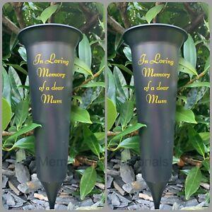2 X Mum Memorial Plastic Black Flower Vase Grave Crem Spike Vase Pot Remembrance