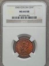 1945 Ceylon Cent, NGC MS 66 RB, Sole Finest @ NGC