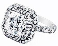 2e7ee06dc6ed Asscher Corte Certificado de GIA Platino Anillo de Compromiso Diamante  3.50Ct