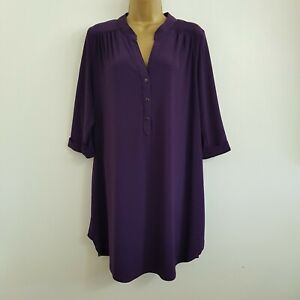 NEW Ann Harvey Plus Size 16-28 Relaxed Fit Purple Button Front Tunic Blouse Top