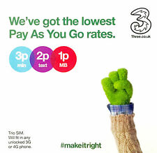 Three UK Pay as You Go SIM Credit 300 Mins 3000 Texts 12gb Data 42 Countries