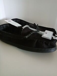 Mens Slippers Moccasin Faux suede Whipstitch Black Size M 9 10 New house shoes