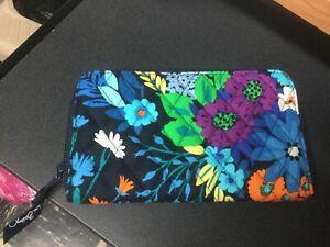 Vera Bradley ACCORDION WALLET PVC zip around clutch organizer Midnight Blue