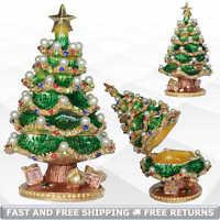 Xmas Tree Trinket Box with Hinged Lid Enamel Jeweled Crystal Decorative Ornament