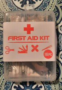 New 18 Piece First Aid Camping Kit Scissors Tweezers Band-Aids & more!