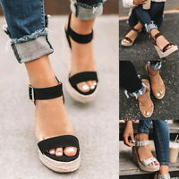Women Ladies Summer Espadrilles Ankle Strap Platform Sandals Wedge Shoes Size SH