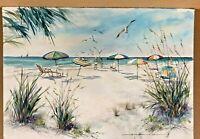 Dick Hutchinson Original Watercolor BEACH UMBRELLAS SEA GULLS OCEAN