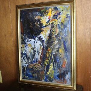 Original Charlie Ward Painting Jazz Musician Saxophone New Orleans 1986