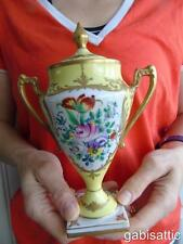 """Limoges Floral Aerosoles & Manijas De Oro Florero de pedestal de urna de porcelana y cubierta 7.5"""""""