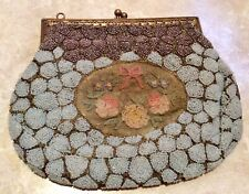 Exquisite 1930s Beaded Evening Bag With Hand Embroidered Panel