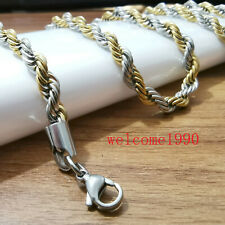 Huge 6mm 24'' Stainless Steel Fashion Silver gold twisted Chain Rope necklace