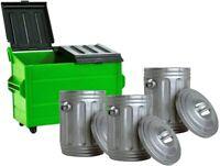 Green Dumpster & 3 Silver Trash Cans For WWE Wrestling Action Figures