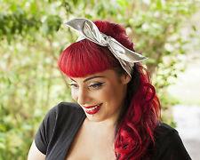 Metallic Silver Hairband Retro 50's Rockabilly hair tie