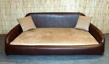 XXL ZIPPY FAUX LEATHER & FAUX SUEDE SOFA DOG BED WITH 10cm DEEP REFLEX MATTRESS